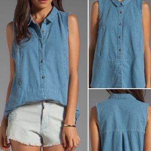 Free People Chambray Denim Sleeveless Button Down